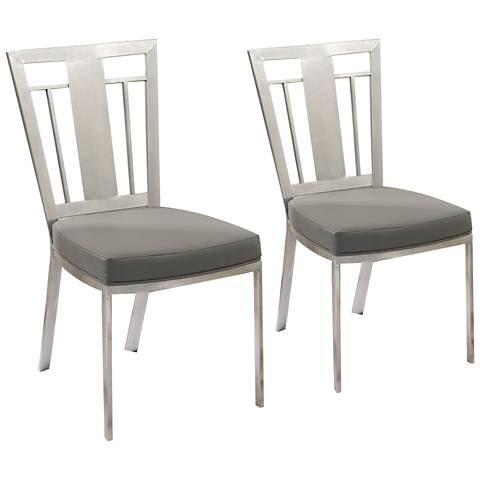 Cleo Gray Faux Leather Dining Chair Set of 2