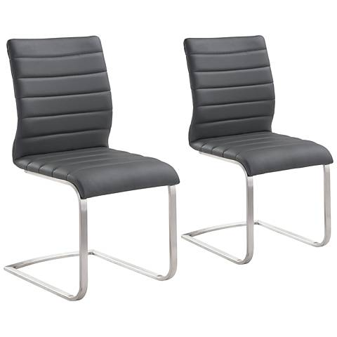 Fusion Gray Faux Leather Side Chair Set of 2