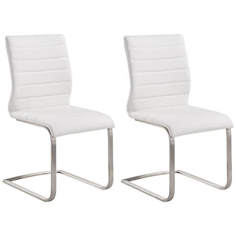 Fusion White Faux Leather Side Chair Set of 2