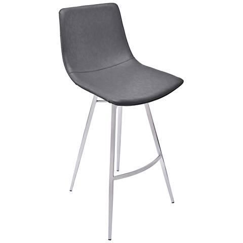 """Athens 26"""" Vintage Gray Faux Leather Counter Stool"""