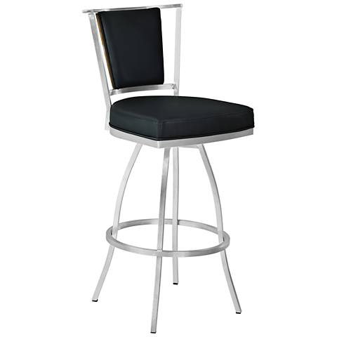 "Delhi 26"" Black Faux Leather Swivel Counter Stool"