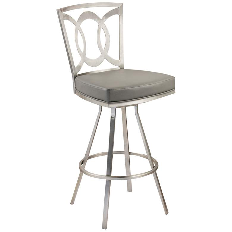 "Drake 26"" Gray Faux Leather Swivel Counter Stool"