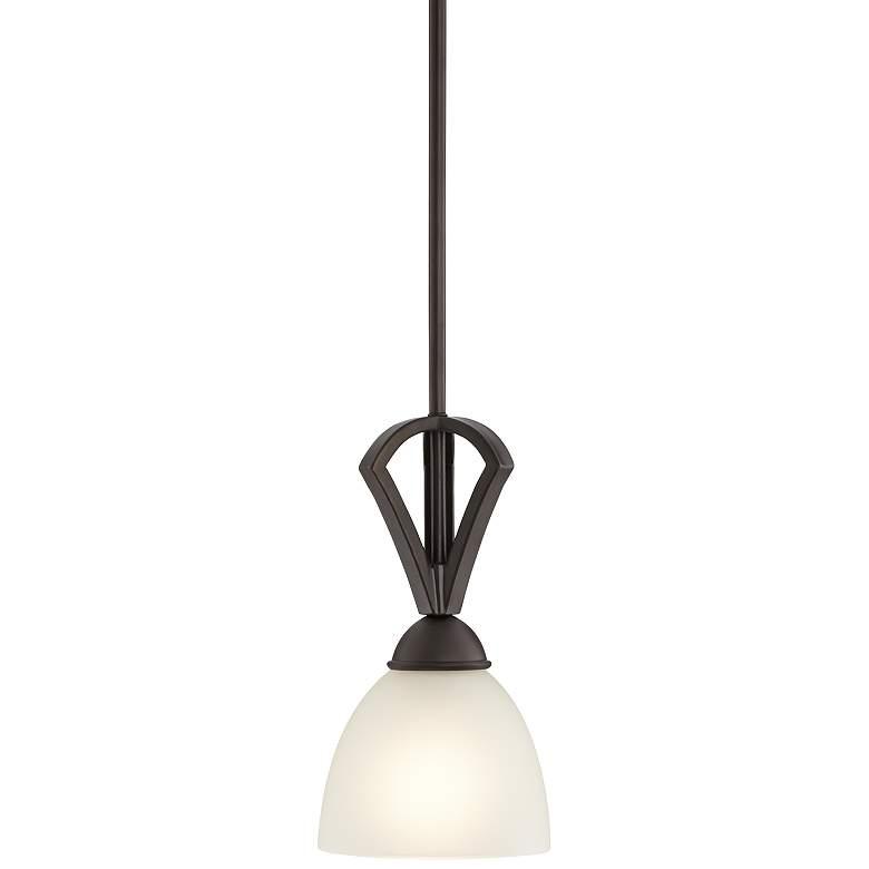"""Possini Euro Milbury 6"""" Wide Bronze White Glass Mini Pendant"""