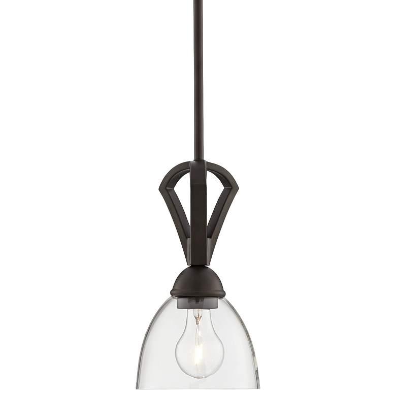 """Possini Euro Milbury 6"""" Wide Bronze Clear Glass Mini Pendant"""