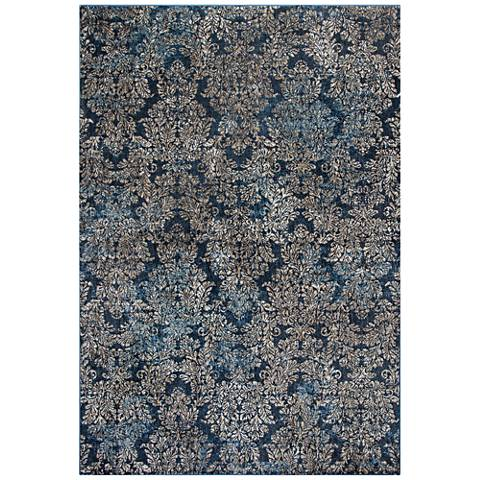 Provence 8611 Slate Blue Damask Area Rug