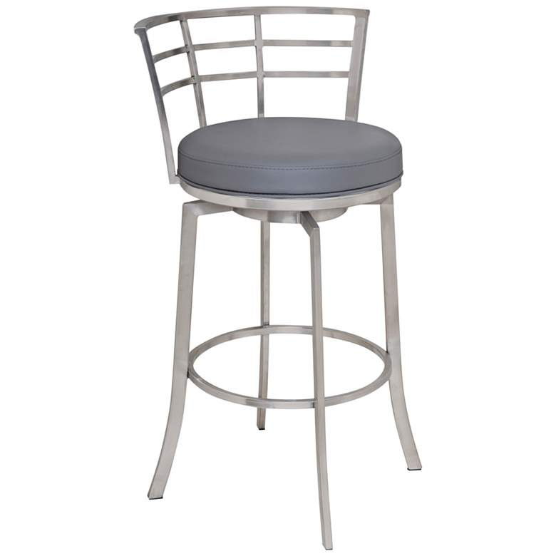 """Viper 26"""" Gray Faux Leather Swivel Counter Stool"""