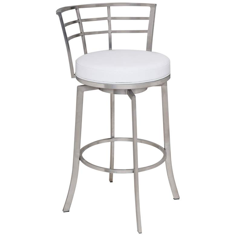 "Viper 26"" White Faux Leather Swivel Counter Stool"