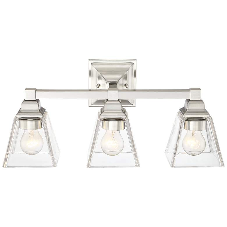 """Mencino 20"""" Wide Satin Nickel and Clear Glass Bath Light"""