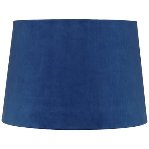 Blue Velvet Hardback Drum Lamp Shade 11x13x9 (Spider)