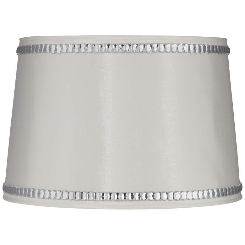 White Drum Lamp Shade with Crystal Trim 13x15x10 (Spider)