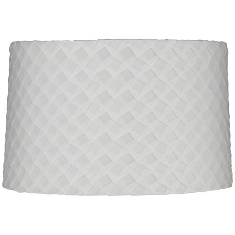 White Folded Pleat Fabric Drum Lamp Shade 13x14x9 (Spider)