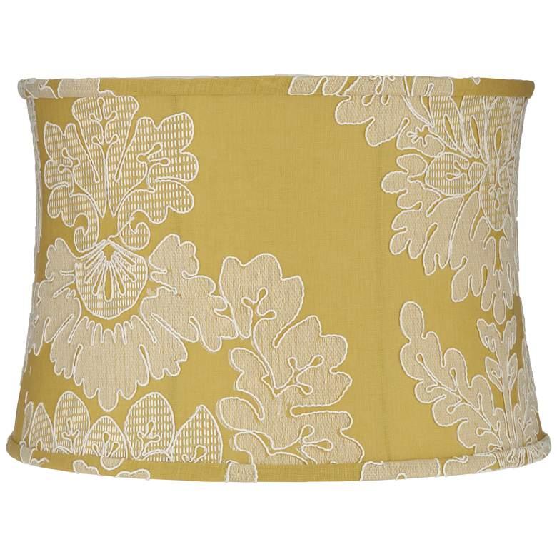 Yellow w/ Stitch Filigree Drum Lamp Shade 15x16x11 (Spider)