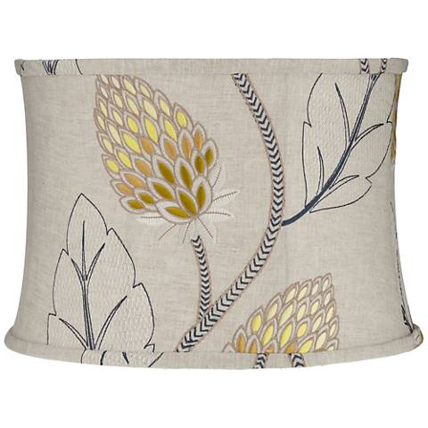Beige with Gold Thistle Drum Lamp Shade 15x16x11 (Spider)