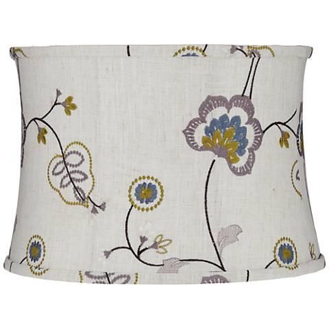 Gray Stitched Flower Drum Lamp Shade 15x16x11 (Spider)