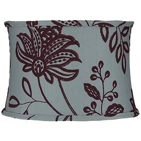 Ine Sch Flowers Blue Drum Lamp Shade 15x16x11 Spider