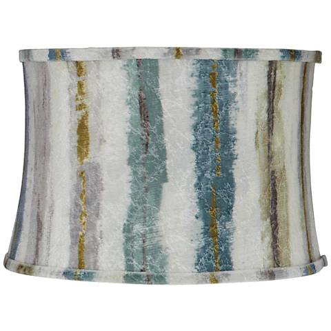 Blue Multi Crackle Stripes Drum Lamp Shade 15x16x11 (Spider)