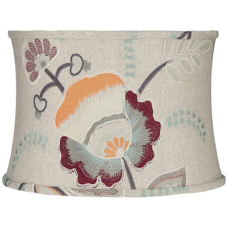 Beige w/ Embroider Flowers Drum Lamp Shade 15x16x11 (Spider)