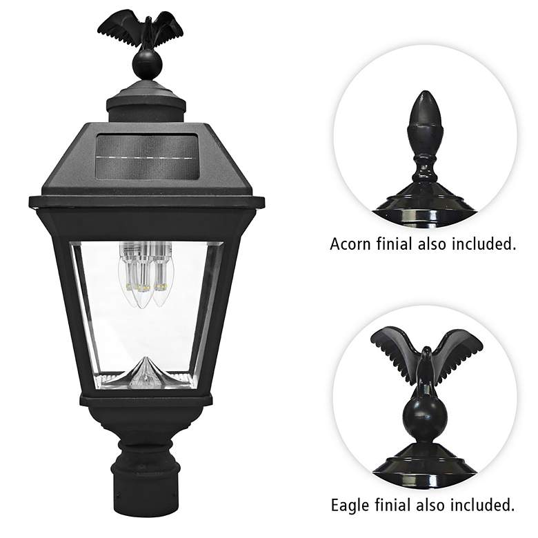 """Imperial 22 1/2"""" High Black Solar LED Outdoor"""