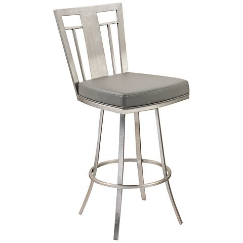 "Cleo 30"" Gray Faux Leather Swivel Barstool"