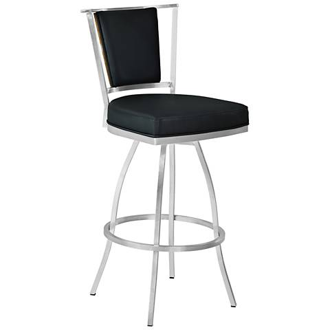 "Delhi 30"" Black Faux Leather Swivel Barstool"