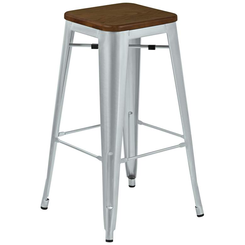 "Emery 30"" Walnut and Brushed Galvanized Steel Barstool"