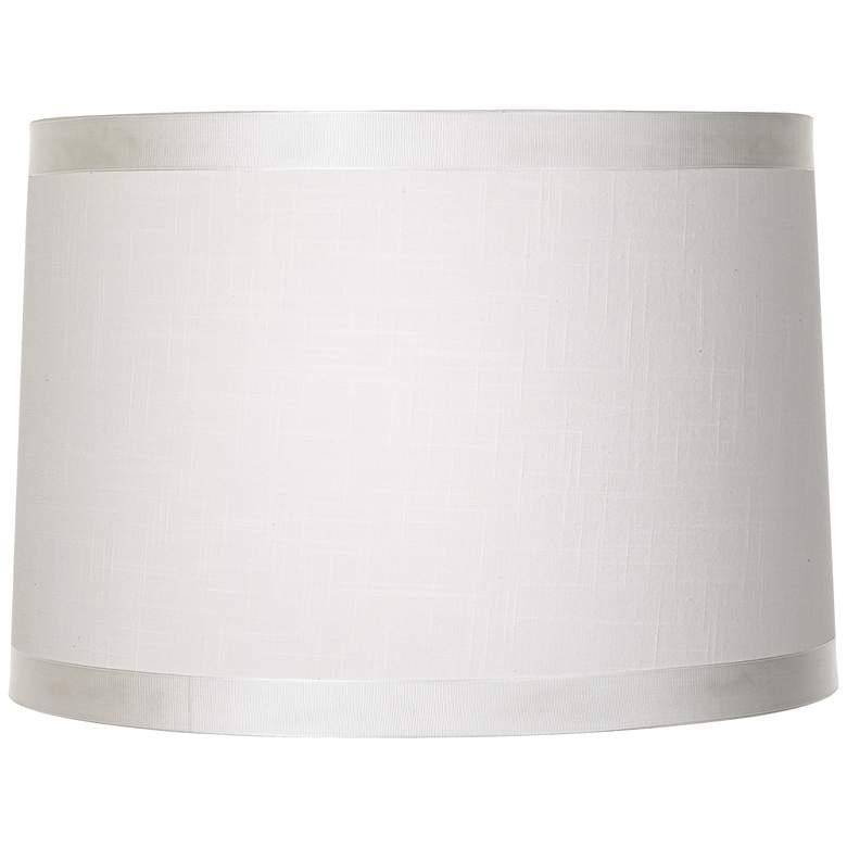Off White Fabric Drum Shade 15x16x11 (Spider)