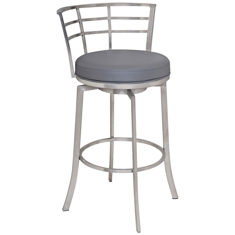 "Viper 30"" Gray Faux Leather Swivel Barstool"