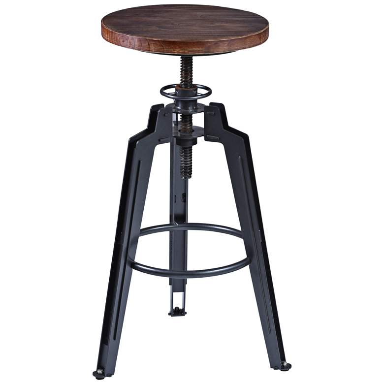 Tribeca Ash Wood and Industrial Gray Adjustable Barstool