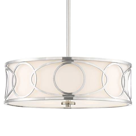 "Possini Euro Joan 22"" Wide Brushed Nickel Pendant Light"