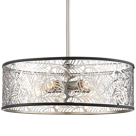 "Barbis 21 1/2""W Black and Stainless Steel 5-Light Pendant"