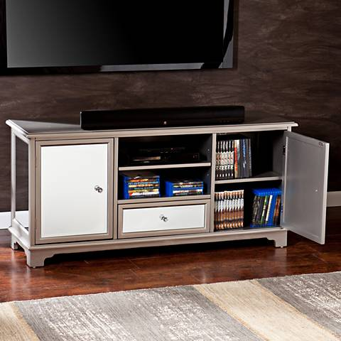 Mirage Mirror and Silver Painted 1-Drawer TV Stand