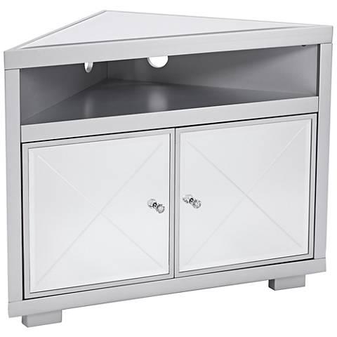 Mirage Mirrored and Matte Silver 2-Door Corner TV Stand