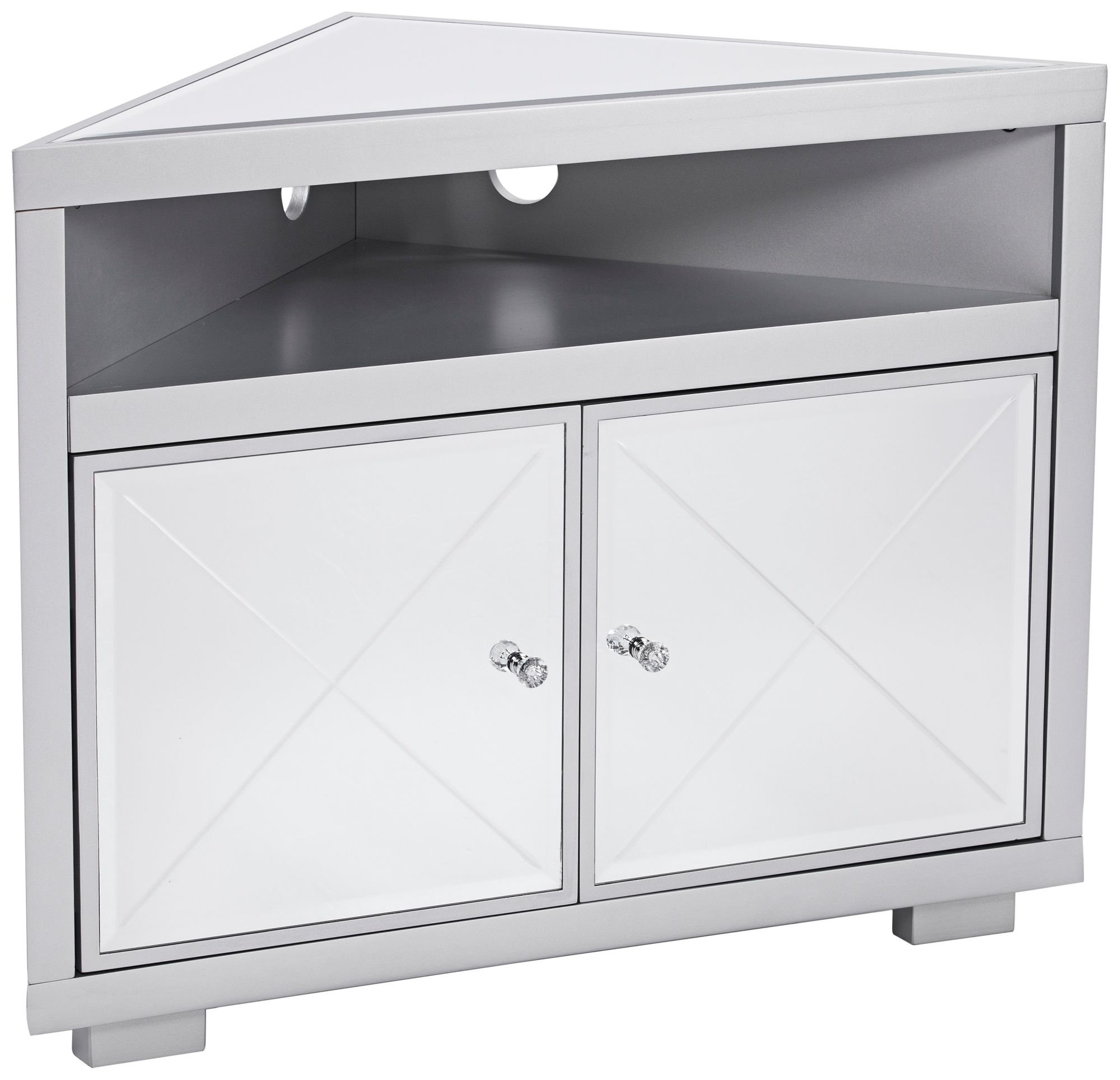 Mirage Mirrored And Matte Silver 2 Door Corner TV Stand