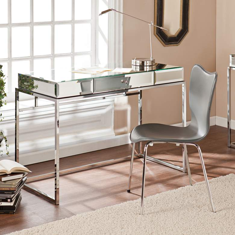 "Dana 43"" Wide Mirrored and Chrome 1-Drawer Desk"