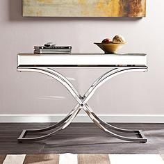 """Ava 42 1/4"""" Wide Mirrored and Chrome Modern Console Table"""