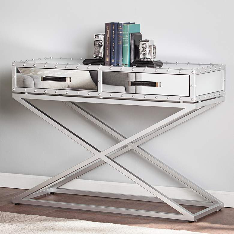 "Lazio 42 1/4"" Wide Mirrored 2-Drawer Modern Console Table"