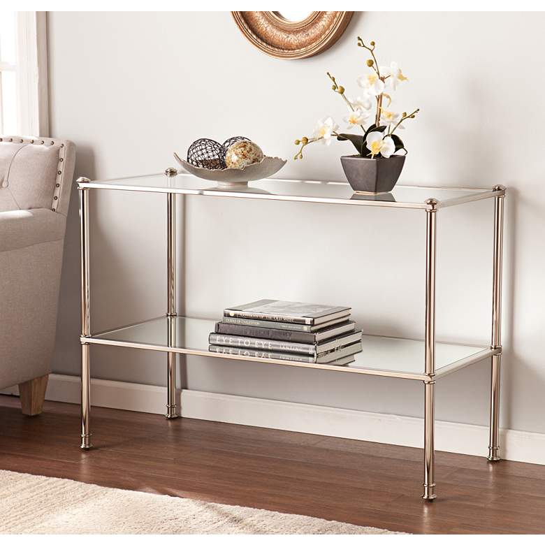 """Paschall 42 1/2"""" Wide Metallic Silver Console Table"""