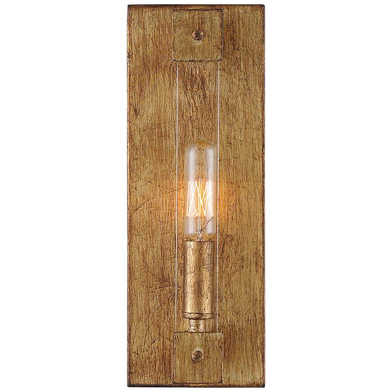 "Varaluz Halcyon 11"" High Antiqued Gold Leaf Wall Sconce"