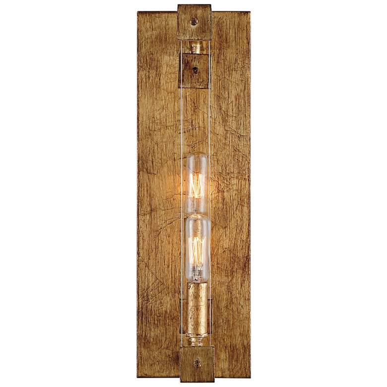 """Varaluz Halcyon 16""""H Antiqued Gold Leaf 2-Light Wall Sconce"""