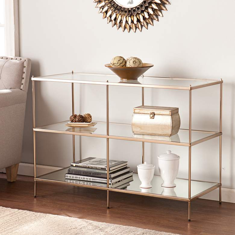 """Knox 42"""" Wide Metallic Gold and Glass Console Table"""