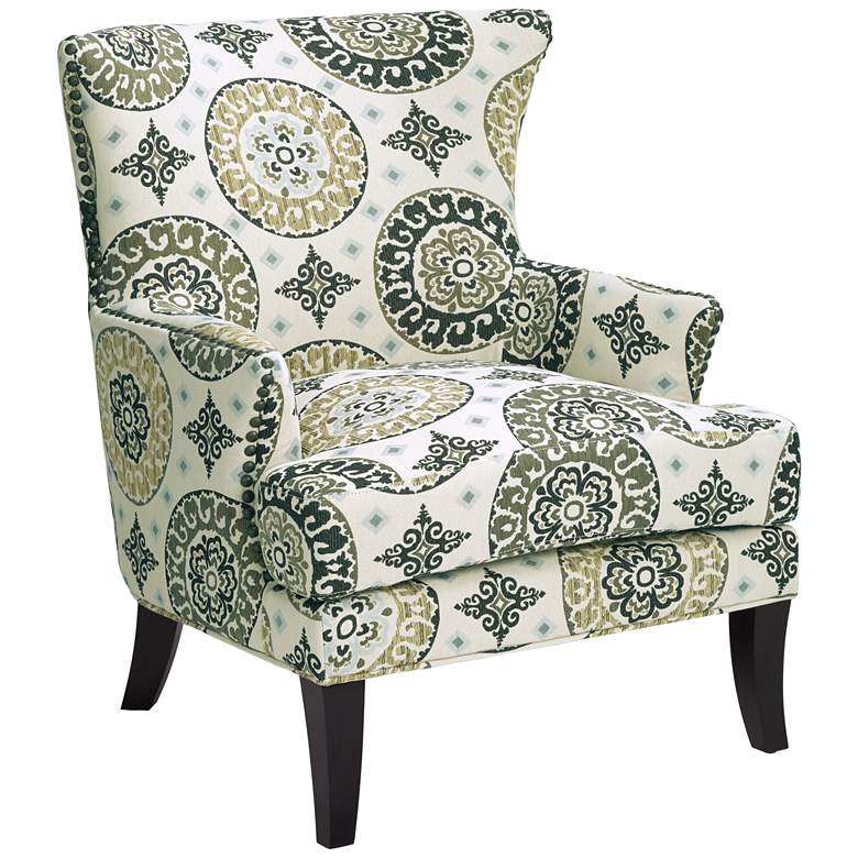 Paula Green and White Wingback Accent Chair