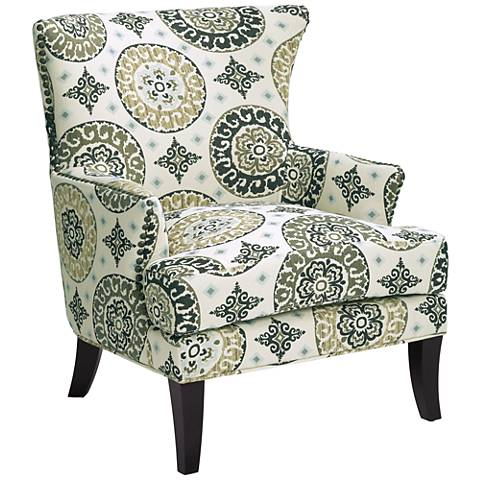 Nola Green and White Wingback Accent Chair