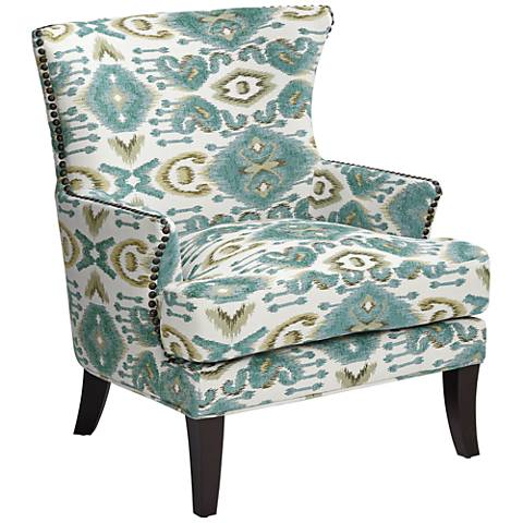 Nola Blue Diamond Patterned Wingback Accent Chair