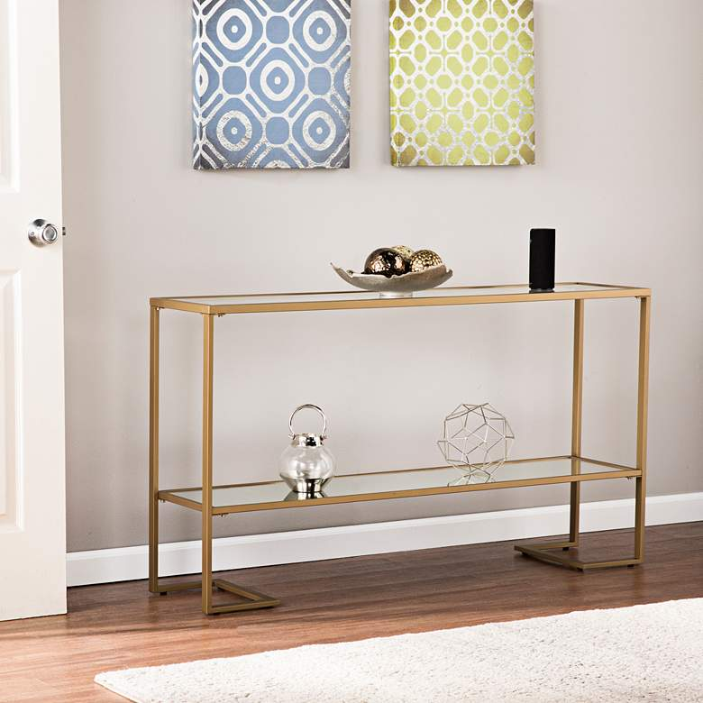 "Horten 52"" Wide Gold and Glass Modern Console Table"