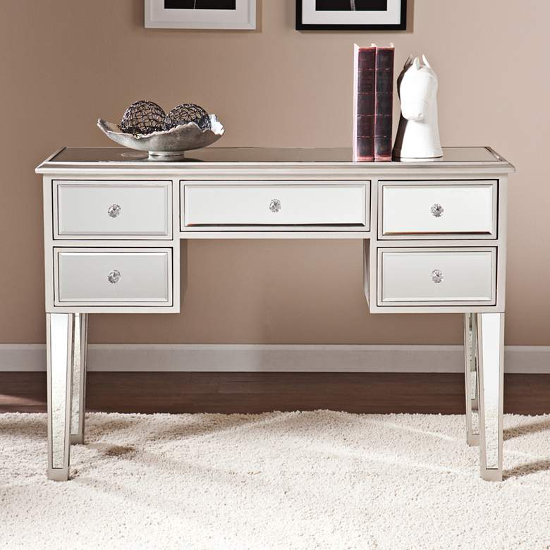 """Mirage 43"""" Wide Mirrored 5-Drawer Console Table Desk"""