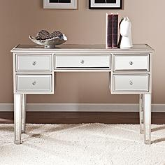 "Mirage 43"" Wide Mirrored 5-Drawer Console Table Desk"