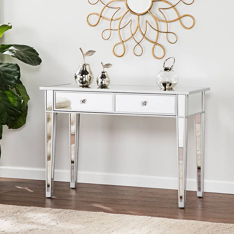 """Mirage 39 1/2"""" Wide 2-Drawer Mirrored Console Table"""