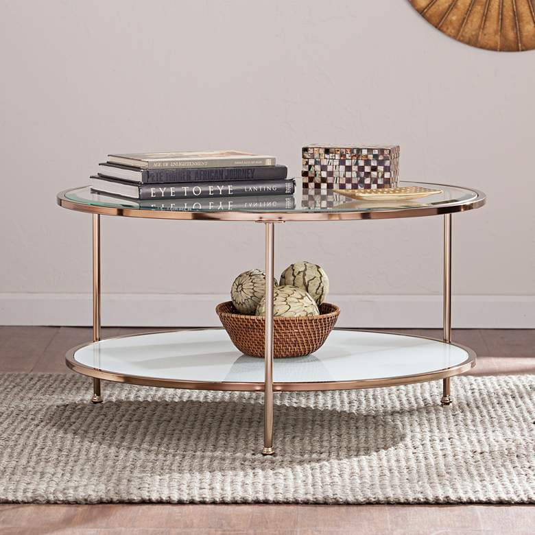 """Risa 33 3/4"""" Wide Metallic Gold Cocktail Table"""