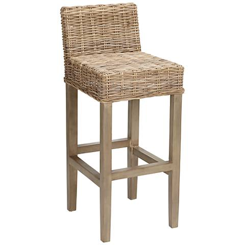"Pearl 31 1/4"" Mahogany Wood and Rattan Bar Stool"