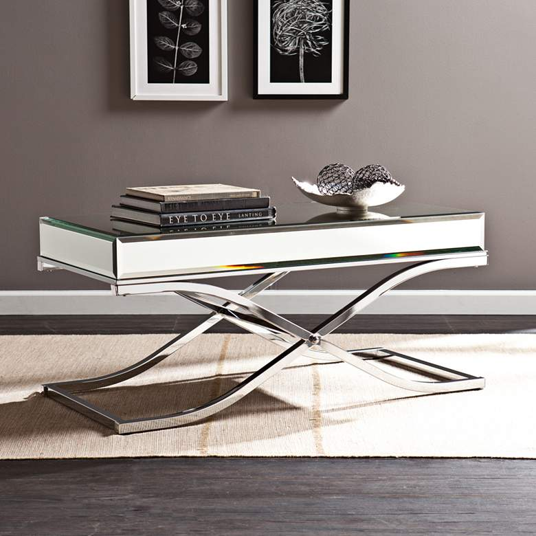 """Ava 42 1/4"""" Wide Mirrored and Chrome Modern Cocktail Table"""